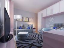 Progettazione moderna della camera da letto dell'adolescente Fotografia Stock