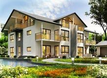 Progettazione moderna della casa con il garage fotografia stock libera da diritti