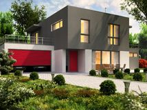 Progettazione moderna della casa e grande garage per automobili immagini stock