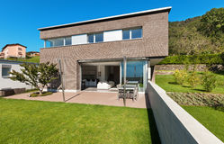 Progettazione moderna di architettura, casa Immagini Stock Libere da Diritti