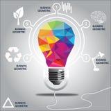 Progettazione moderna di stile colourful delle lampadine Illustrazione di Stock