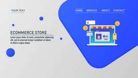 Progettazione moderna, modello d'atterraggio della pagina, insegna di vettore, deposito di commercio elettronico, concetto di com illustrazione di stock
