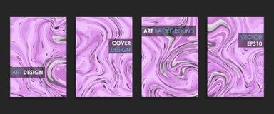 Progettazione moderna A4 Struttura di marmo astratta delle pitture liquide luminose colorate illustrazione vettoriale