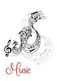 Progettazione musicale astratta della composizione nelle onde Immagini Stock