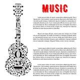 Progettazione musicale del manifesto di concerto con la chitarra delle note Immagine Stock