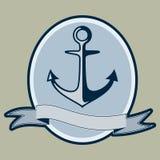 Progettazione nautica dell'ancora e del testo di stile d'annata Fotografie Stock Libere da Diritti