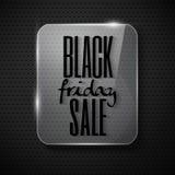 Progettazione nera di venerdì nel telaio di vetro su backg tecnologico illustrazione di stock