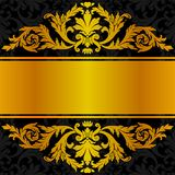 Progettazione nera dorata dell'etichetta Immagini Stock