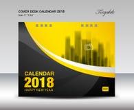 Progettazione nera e gialla del calendario da scrivania 2018 della copertura, modello dell'aletta di filatoio royalty illustrazione gratis