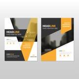 Progettazione nera gialla del modello dell'aletta di filatoio dell'opuscolo dell'opuscolo del rapporto annuale di vettore, proget Fotografie Stock Libere da Diritti