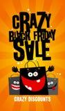 Progettazione nera pazza di vendita di venerdì con le borse. Immagine Stock