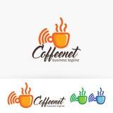 Progettazione netta di logo di vettore del caffè Fotografia Stock