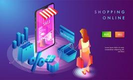Progettazione online della pagina di atterraggio di acquisto, negozio della donna online, illus 3d illustrazione di stock