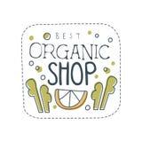 Progettazione organica del modello di logo del negozio, etichetta per gli alimentari sani, negozio del vegano, caffè vegetariano, illustrazione di stock