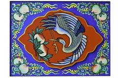 Progettazione orientale di verniciatura cinese dell'uccello e delle pesche della gru Immagini Stock Libere da Diritti