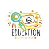 Progettazione originale dell'etichetta di istruzione, di nuovo all'illustrazione variopinta di vettore del modello grafico di log Fotografia Stock Libera da Diritti