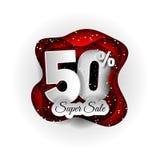 Progettazione originale dell'insegna di vendita 50% bianca e rosso e neve Stile di carta del mestiere di arte fotografia stock