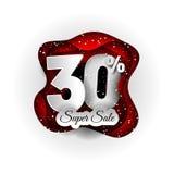 Progettazione originale dell'insegna di vendita 30% bianca e rosso e neve Stile di carta del mestiere di arte fotografia stock libera da diritti