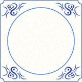 Progettazione originale delle mattonelle del blu di Delft Fotografie Stock Libere da Diritti