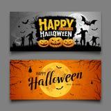 Progettazione orizzontale delle collezioni di Halloween delle insegne felici del partito illustrazione vettoriale