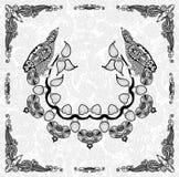 Progettazione ornamentale dell'uccello e floreale della struttura Immagine Stock