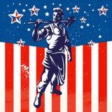 Progettazione patriottica del manifesto del lavoratore americano Fotografie Stock