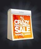 Progettazione pazza di vendita di Halloween nella forma di calendario. Fotografie Stock Libere da Diritti