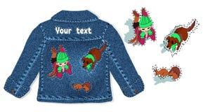 Progettazione per l'abbigliamento dei bambini, rivestimento del denim della molla il ricamo dei bambini nello stile del fumetto d royalty illustrazione gratis