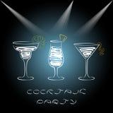 Progettazione per l'invito del ricevimento pomeridiano con i cocktail Fotografie Stock Libere da Diritti