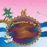 Progettazione per una cartolina Viaggio romantico illustrazione vettoriale