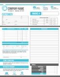 Progettazione personalizzabile del modello di ordine di lavoro della fattura Fotografia Stock