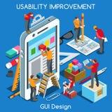 Progettazione 02 persone del GUI isometriche illustrazione di stock