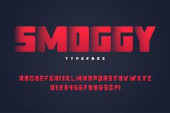 Progettazione pesante Smoggy della fonte dell'esposizione, alfabeto, carattere, lettere Fotografia Stock