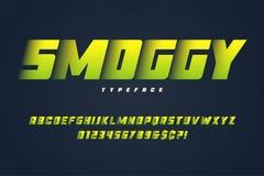 Progettazione pesante Smoggy della fonte dell'esposizione, alfabeto, carattere, lettere Immagine Stock Libera da Diritti