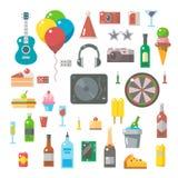 Progettazione piana degli elementi del partito messi illustrazione di stock