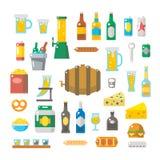 Progettazione piana degli elementi della birra messi illustrazione di stock