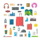 Progettazione piana degli oggetti di viaggio messi Immagini Stock Libere da Diritti