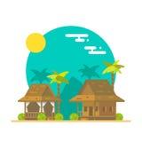Progettazione piana dei bungalow della spiaggia Immagine Stock