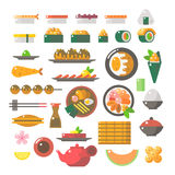 Progettazione piana dei piatti dei sushi messi Immagini Stock