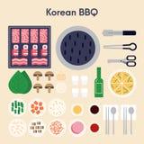 Progettazione piana del BBQ dell'illustrazione coreana di vettore Immagine Stock Libera da Diritti