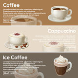 Progettazione piana del caffè popolare Caffè, cappuccino, caffè di ghiaccio Immagini Stock