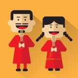 Progettazione piana del fumetto della gente della Cina Fotografia Stock