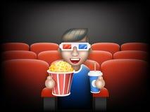 Progettazione piana del grande del popcorn di vetro della cappa 3D del cinema del selz di Guy Man Boy Character Sit fumetto reali Fotografie Stock