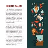 Progettazione piana del manifesto del salone di bellezza del parrucchiere della donna per coloritura e la designazione di capelli illustrazione vettoriale