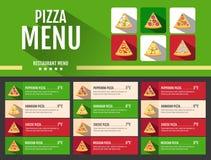 Progettazione piana del menu della pizza degli alimenti a rapida preparazione di stile Fotografia Stock