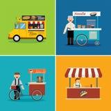 Progettazione piana del negozio di alimento della via Immagine Stock