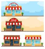 Progettazione piana del negozio esteriore della facciata con il segno Immagini Stock