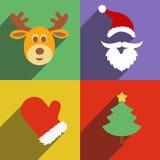 Progettazione piana del nuovo anno di natale e del Babbo Natale Fotografia Stock Libera da Diritti