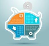 Progettazione piana del porcellino salvadanaio di affari di Infographic Fotografie Stock