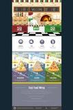 Progettazione piana del sito Web di concetto del menu della pizza di stile Fotografie Stock Libere da Diritti